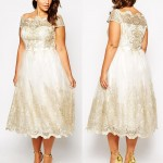 Get This Plus Size Tea Length Wedding Dress