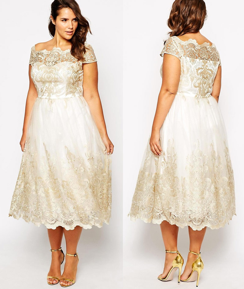 Plus Size Tea Length Wedding Dress 2015