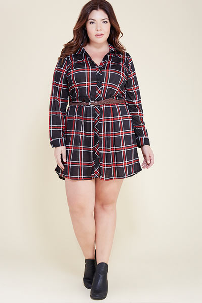 Plus-Size-Plaid-Dress-