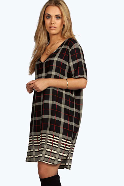 Plus-Size-Shift-Dress-Checked-Plaid-