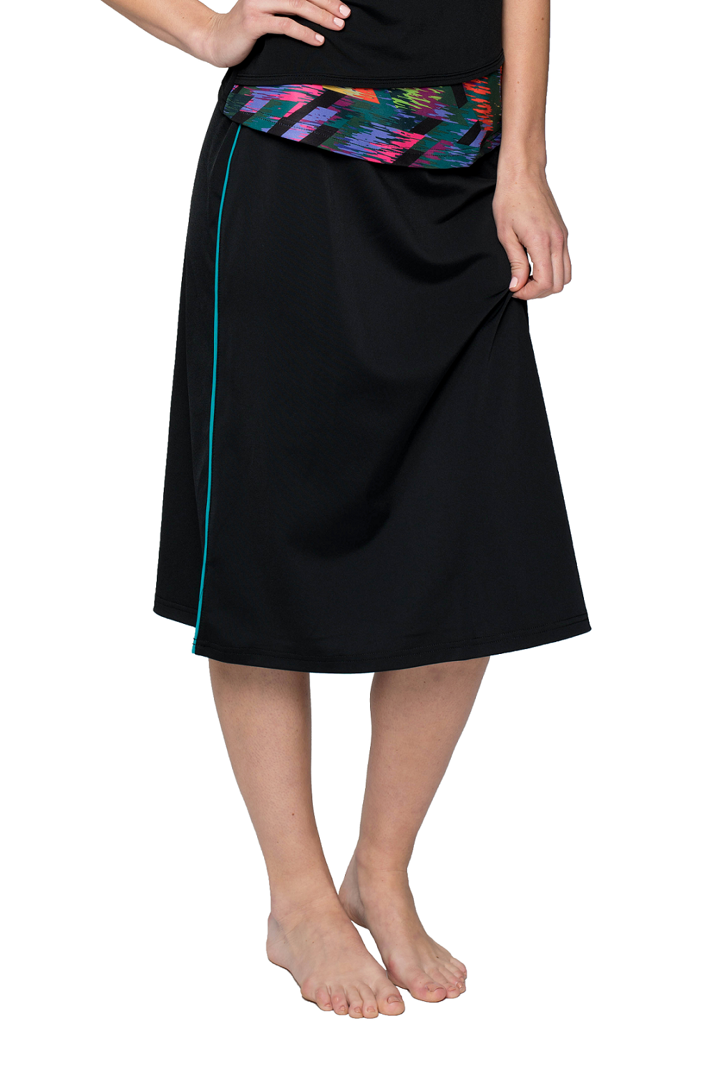 d220f0aa76d Classic Long Water Skirt with Piping Accents – 25″ long A-line shape for  freedom of movement plus attached leggings for added coverage.