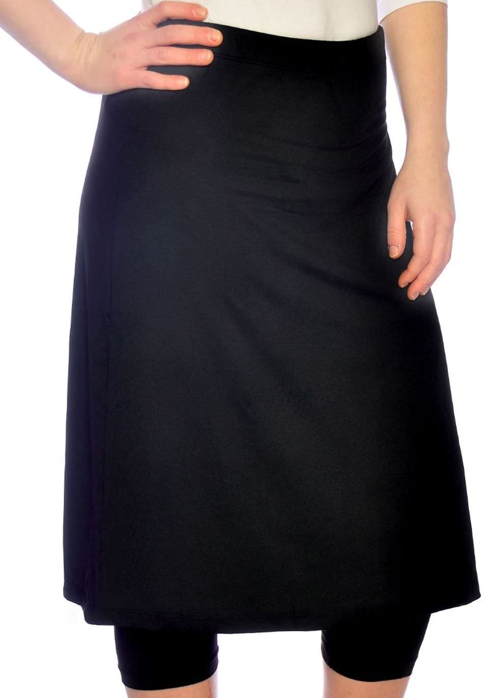 235df78705be8 Kosher Casual Black Running Swim Skirt With Leggings that goes up to 2x.  Here s a similar one with a knee length skirt and below the knee leggings  that goes ...
