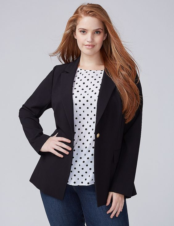 3ba9b72767f This classic blazer is made of a modern fabric with stretch. It has all the  features of a flattering blazer for apple shapes with a deep V-shape