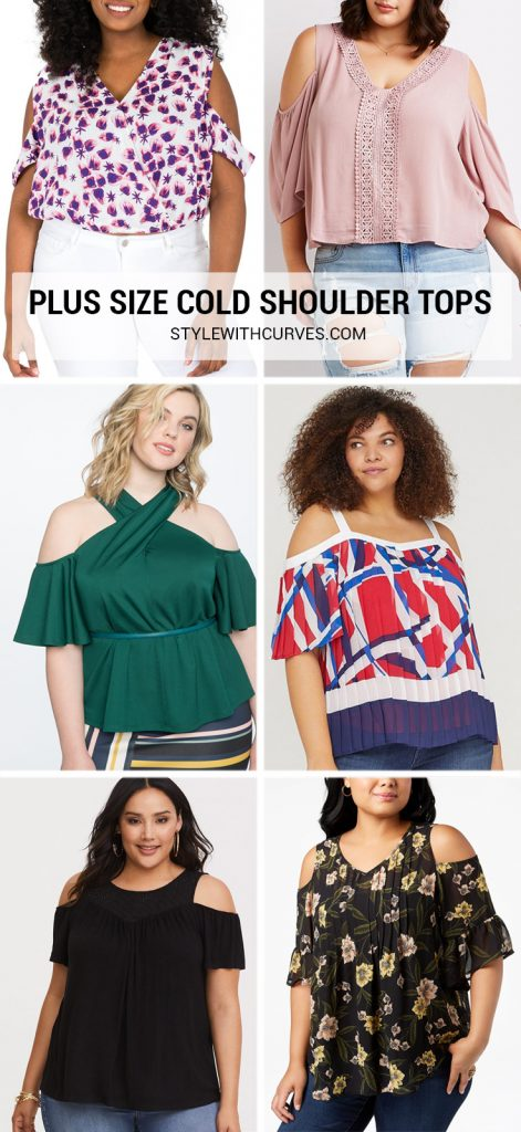 Plus Size Cut Out Shoulder Tops aka Cold Shoulder Tops