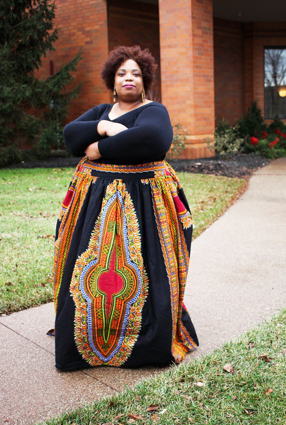 83419286dd This Etsy store makes African print maxi skirts up to size 28 for a 51″  waist. Each item is handmade and the prices vary by size.