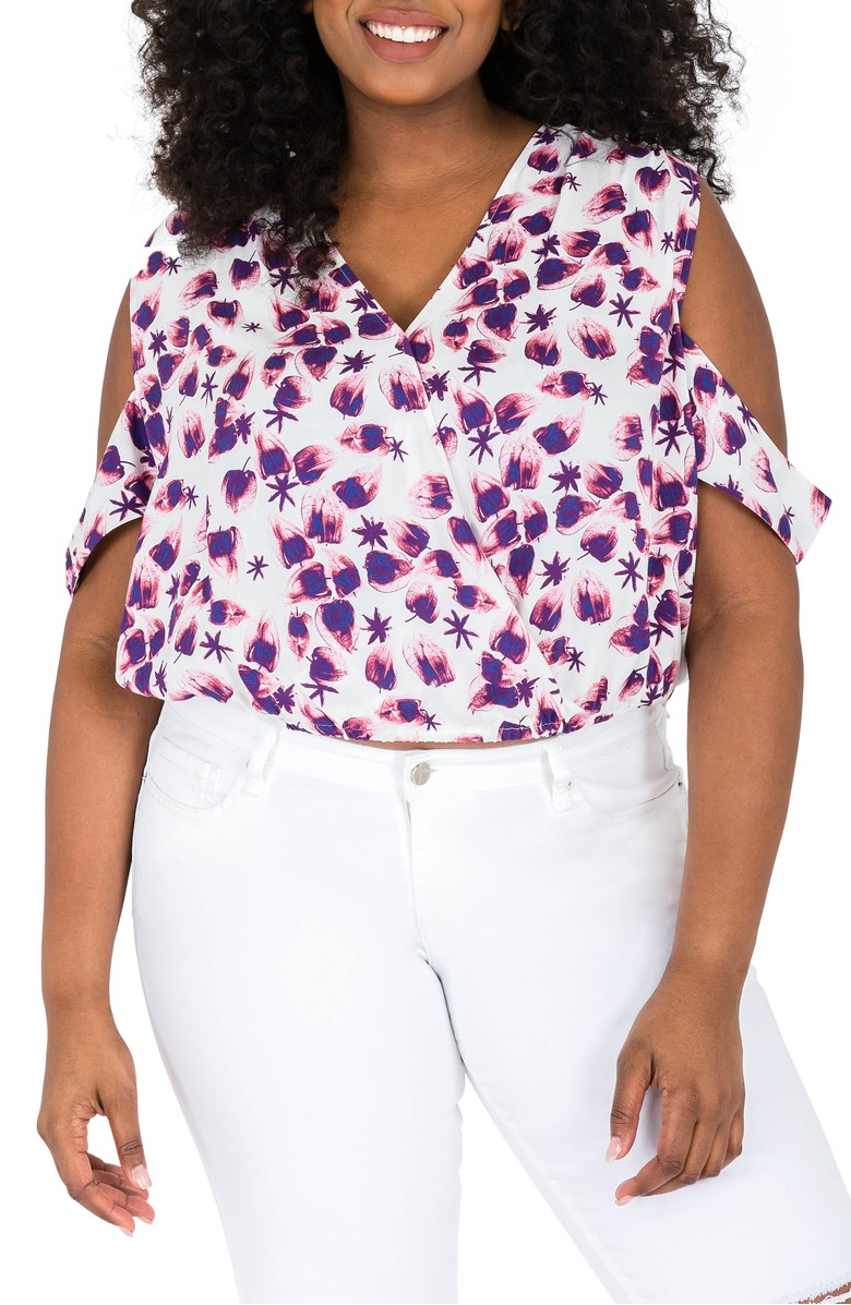 2521c06a30f Combine some of the hottest trends with this cropped cut out shoulder top  that can be worn with high rise bottoms. We love crops tops with a pencil  skirt ...