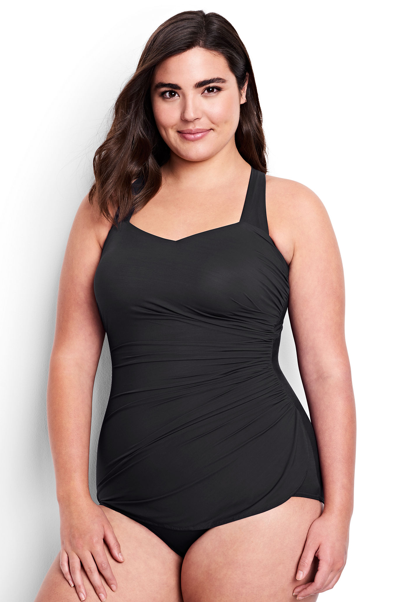 fad844573b1 Land's End Slender One-Piece Tunic – Shirring creates a waistline while  Slendertex fabric smooths and shapes.