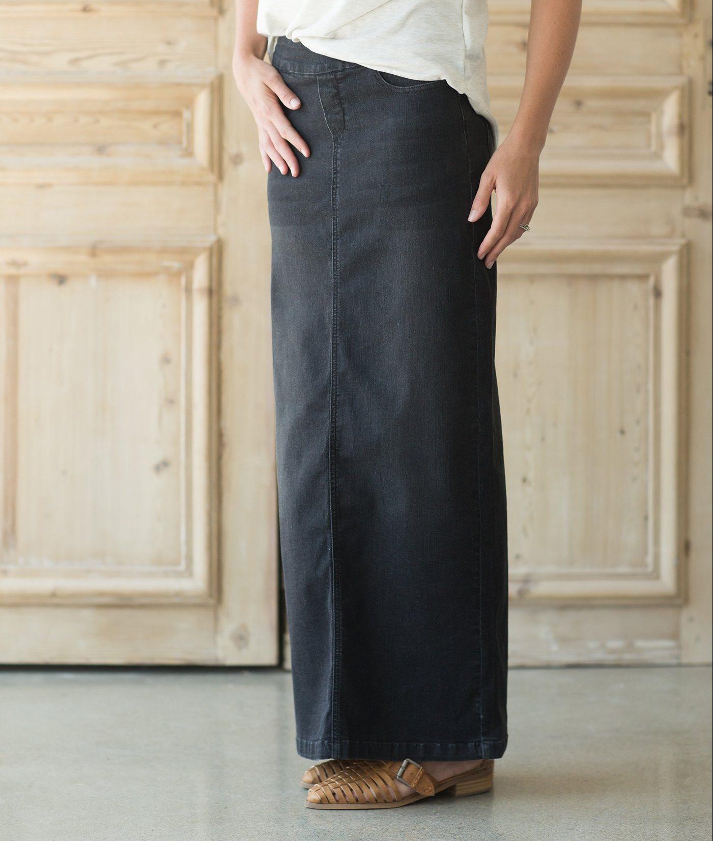 64a3c8ce Donna Denim Skirt – Designed by Inherit, this full-length denim skirt fets  a modest update from dark heathered denim look, streamlined elastic  waistband, ...